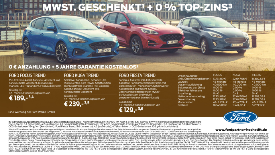 Ford 4x Null, Ford Focus, Ford Kuga, Ford Fiesta